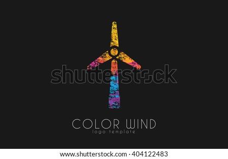 Wind logo. Wind power logo design. Creative logo design. Energy Windmill. Energy logo - stock photo