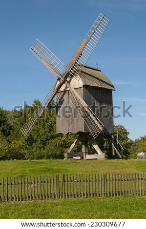 Wind mill ancient at landscape museum - stock photo