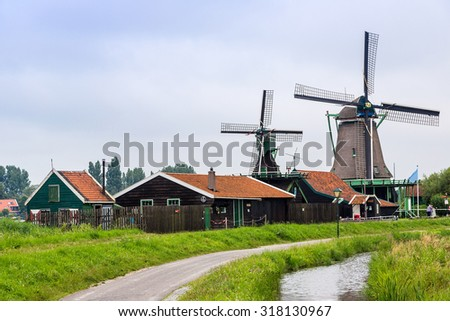 Wind mills in Zaanse Schans, Netherland. Holland - stock photo