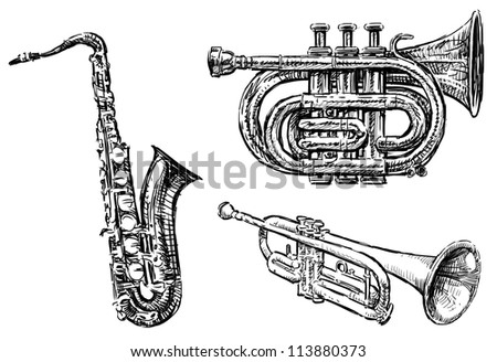 wind musical instruments - stock photo