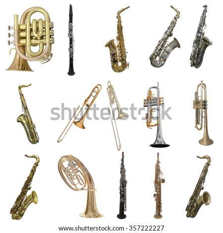 Wind musical instruments isolated under the white background - stock photo
