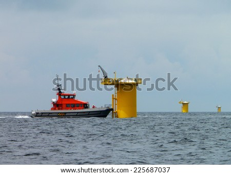 wind park in course of construction - stock photo