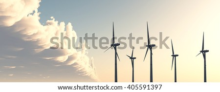 Wind power Computer generated 3D illustration - stock photo