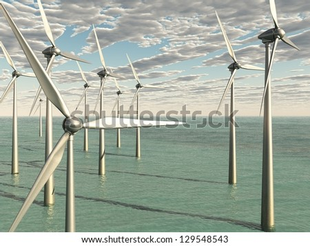 Wind Power Farm In The Ocean - stock photo