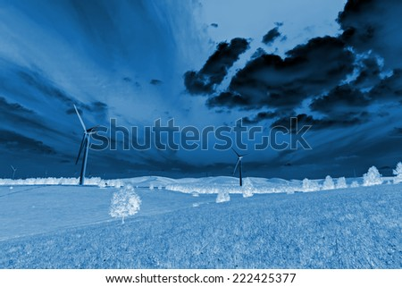 wind power generator on the grassland, Chengde, Hebei Province, north china - stock photo
