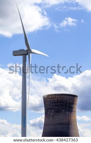 Wind power turbine - stock photo