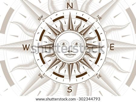 Wind rose compass - stock photo