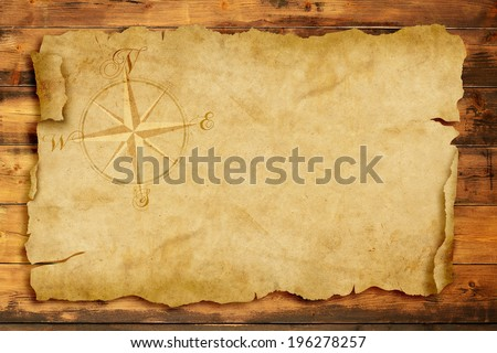 wind rose on old  parchment with copy space - stock photo