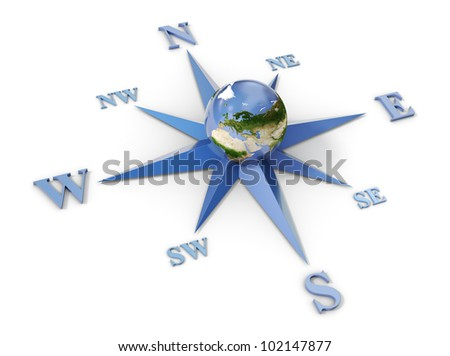 Wind rose with planet earth in the center, isolated on white - stock photo