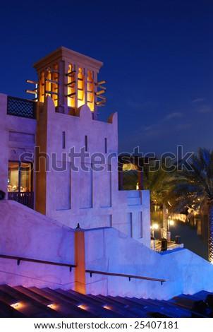 Wind Tower. Dubai. Madinat Jumeirah. - stock photo