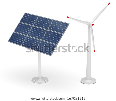 Wind Turbine and Solar Panel - stock photo