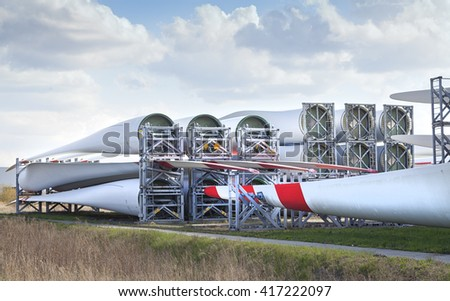 wind turbine blades to generate electricity - stock photo