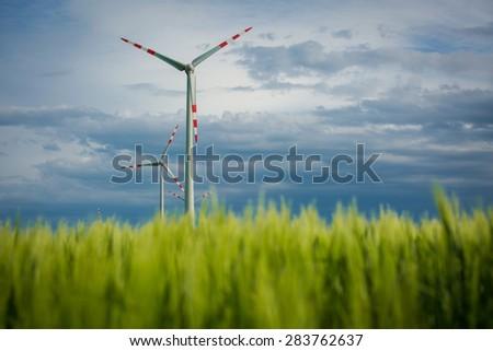 Wind turbine. Clean energy - stock photo