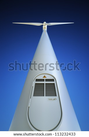 Wind Turbine directly from below - stock photo