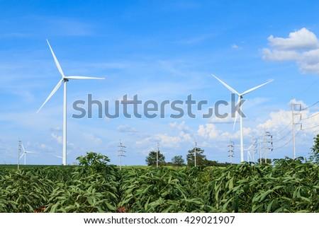 Wind turbine farm, generating electricity in Thailand - stock photo