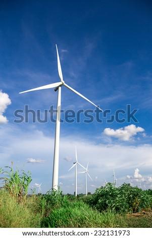 Wind Turbine Farm with blue sky - stock photo
