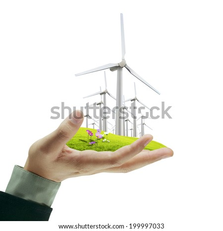 Wind turbine in a man hand - stock photo