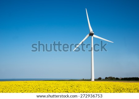 Wind turbine in a yellow flower field of rapeseed - stock photo