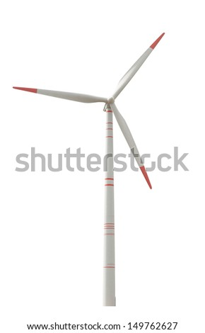 wind turbine isolated on white - stock photo