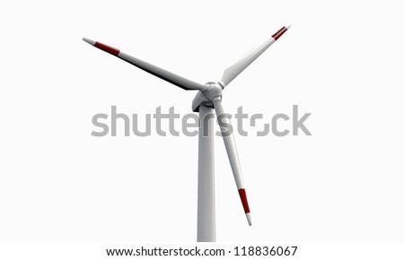 wind turbine isolated on white background - stock photo