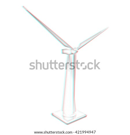 Wind turbine isolated on white . Pencil drawing. 3D illustration. Anaglyph. View with red/cyan glasses to see in 3D. - stock photo