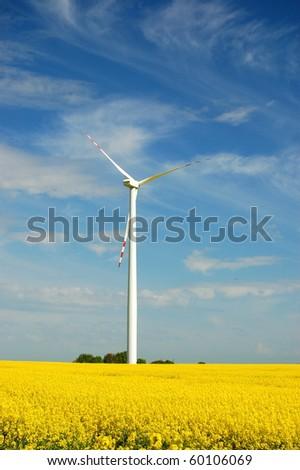 Wind turbine on field of oil rapeseed - stock photo