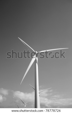 Wind turbine with black and white background (Lanzarote Canary Islands) - stock photo