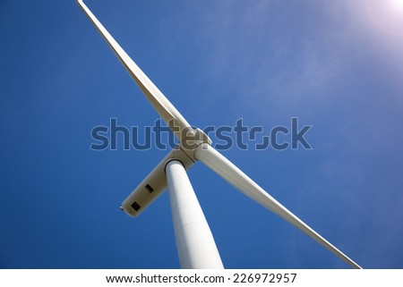 Wind Turbine with Sunlight - stock photo