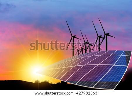 Wind turbines and solar panels - stock photo