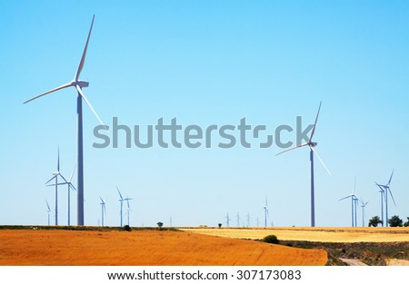 Wind Turbines at farmland in  Spain - stock photo