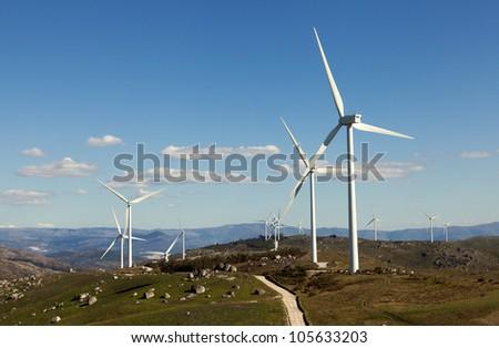Wind turbines farm - stock photo