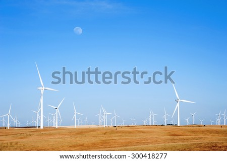 Wind Turbines Farm in California Sunset, Renewable Energy - stock photo