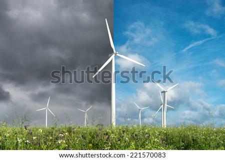 wind turbines farm in Germany - stock photo