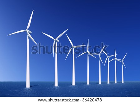 Wind turbines farm in sea near Denmark - stock photo