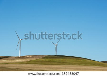 wind turbines for making electricity  - stock photo