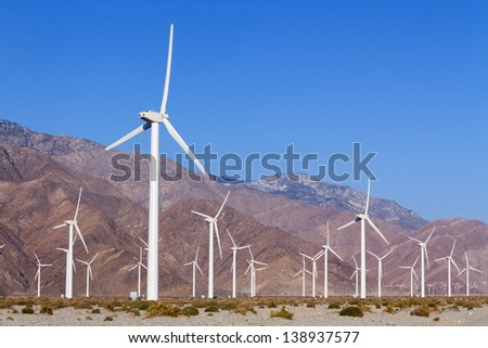 Wind Turbines for Renewal Energy, Palm Springs, CA - stock photo
