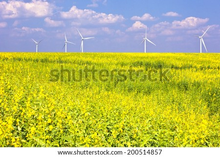 wind turbines in a flower field eco power concept - stock photo