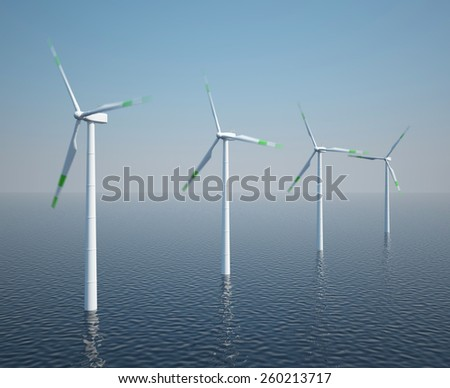 Wind turbines in motion on the ocean with blue sky. 3d illustration high resolution - stock photo