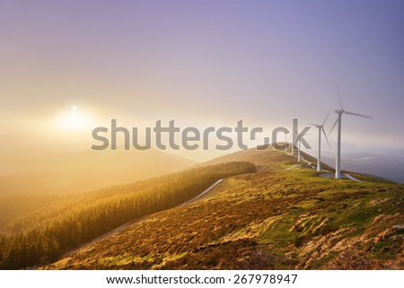 wind turbines in Oiz eolic park. Basque Country - stock photo