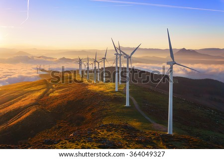 wind turbines in the Oiz eolic park - stock photo
