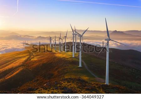 wind turbines in the Oiz eolic park - stock photo