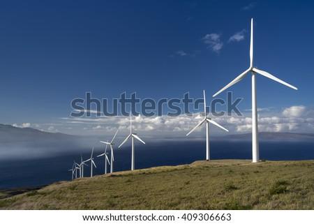 Wind turbines, Maui, Hawaii, USA - stock photo