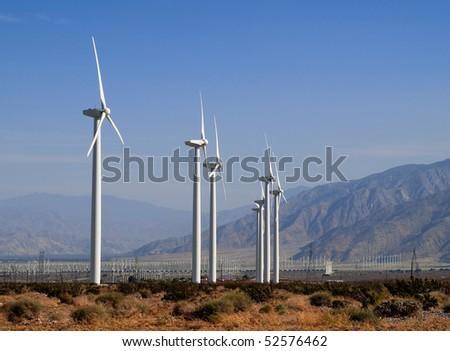 Wind Turbines near Palm Springs, California - stock photo