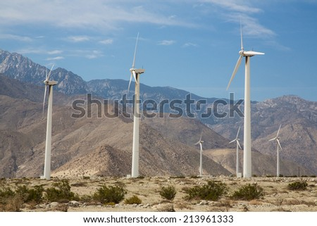Wind turbines outside Palm Spring, CA. Simple of clean energy. - stock photo