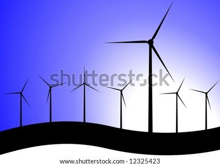 wind turbines silhouette - stock photo