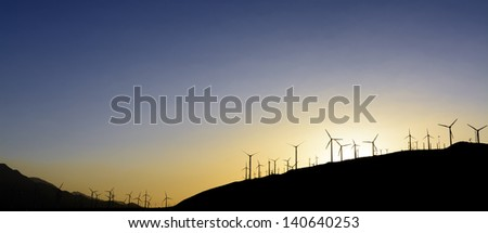 Windfarm at sunset. Palm Springs, California - stock photo