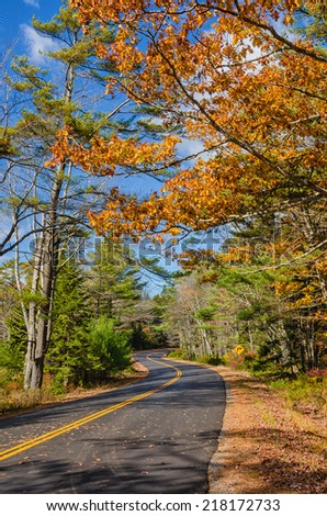 Winding autumn road in New England - stock photo