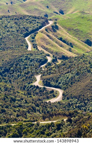 Winding dirt road in scenic landscape of rural farmland forest of Hawke's Bay district on North Island of New Zealand - stock photo