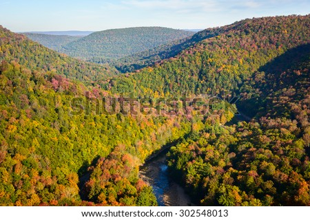 Winding River, Worlds End State Park - stock photo