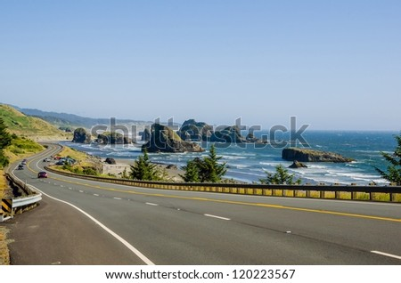 Winding Road along the Spectacular Oregon Coast - stock photo